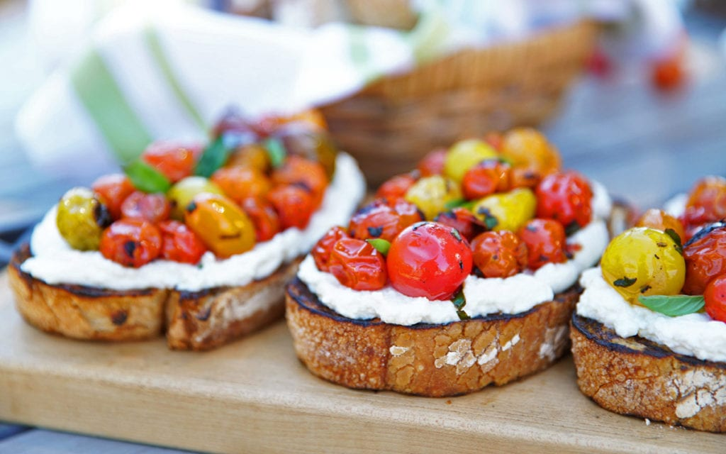 Wood-Grilled Blistered Tomato and Ricotta Bruschetta