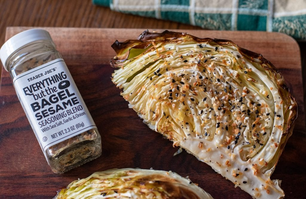 Roasted Sheet pan Cabbage with trader joes everything but the bagel seasoning