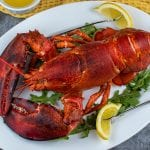 Boiled lobster at home with drawn butter