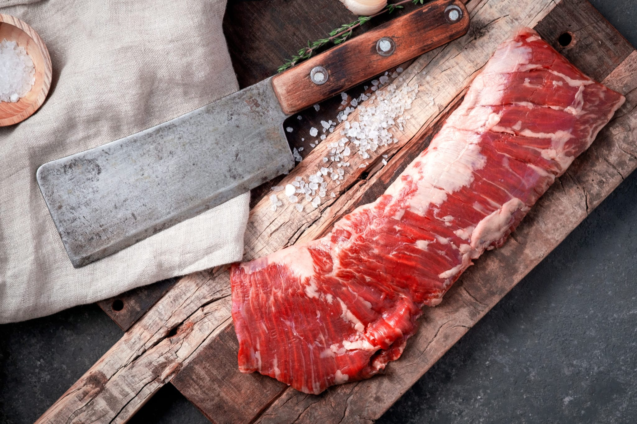 Raw,Beef,Machete,Steak,With,Meat,Axe,On,A,Wooden