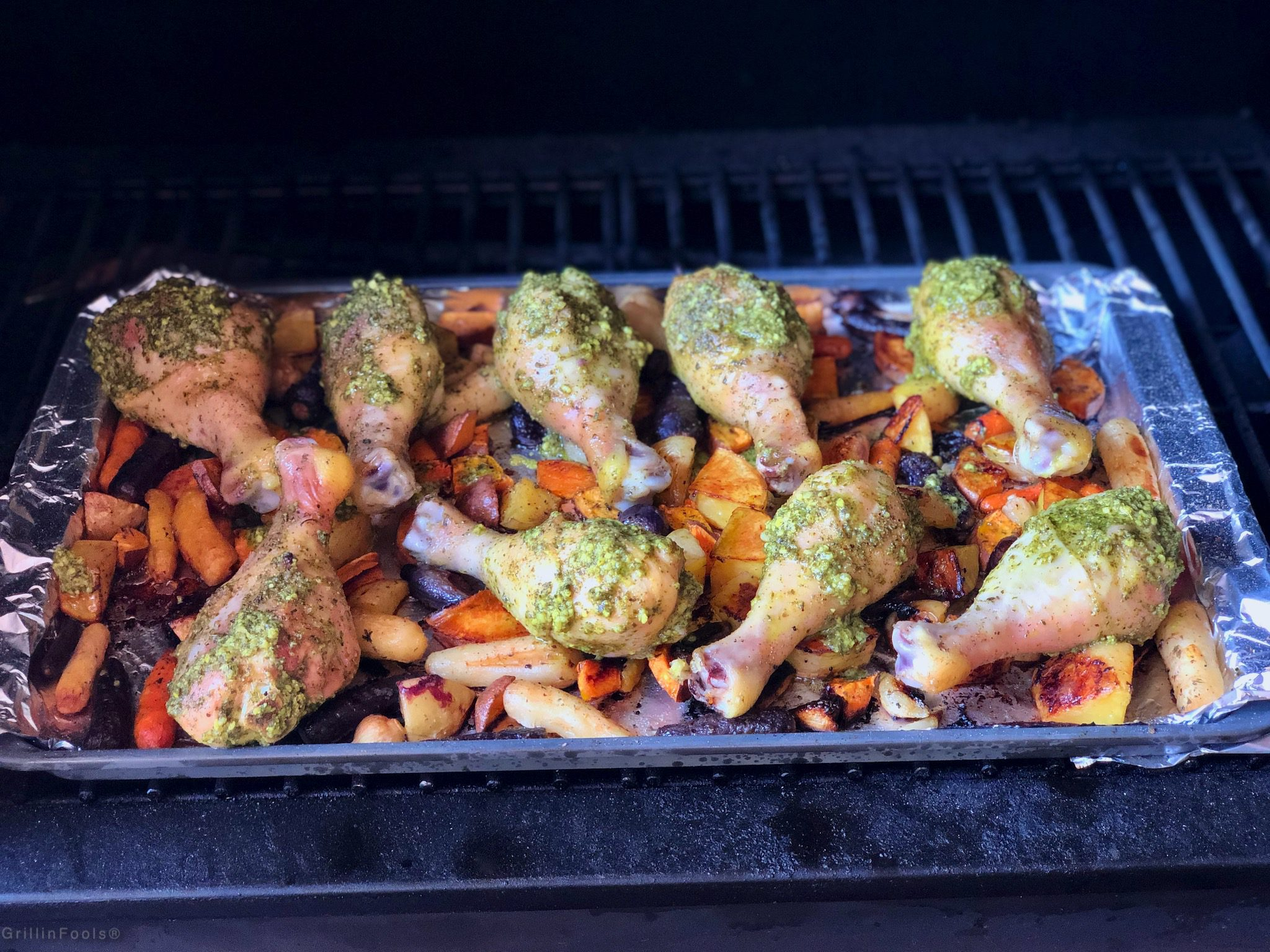 Grilled Sheet Pan Chicken Thighs with Pesto